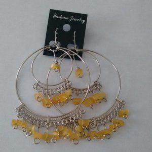 New yellow hoop cascajo boho beaded earrings